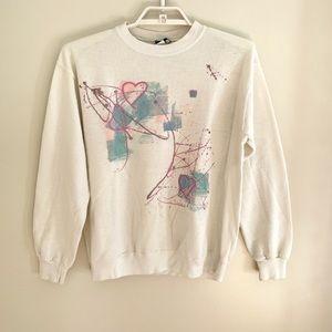 Vintage 80s Pastel Sweatshirt Glitter Womens L